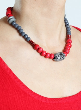 Gray - Red - Necklace