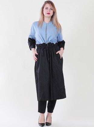 Blue - Crew neck - Plus Size Coat