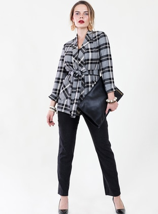 Black - Checkered - Point Collar - Plus Size Blouse