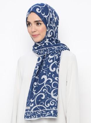 Gray - Navy Blue - Printed -  - Shawl
