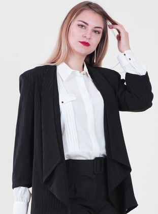 Black - Fully Lined - Shawl Collar - Viscose - Jacket