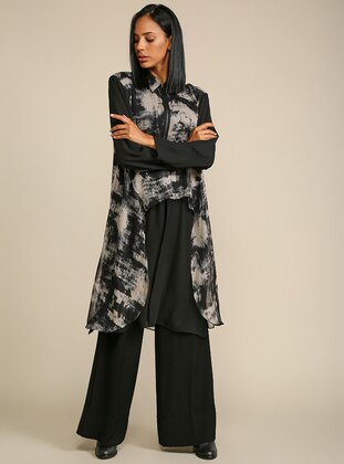 Black - Multi - Point Collar - Tunic