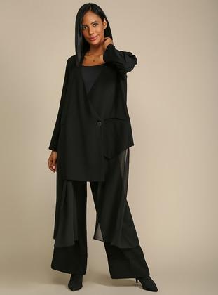 Black - Fully Lined - V neck Collar - Jacket