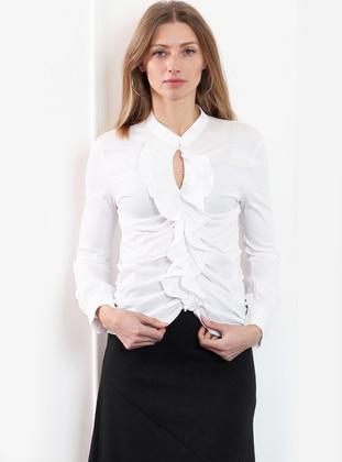 White - Button Collar - Blouses