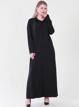 Black - Crew neck - Fully Lined - Viscose - Dress