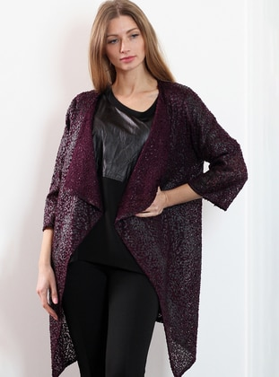 Fuchsia - Shawl Collar - Wool Blend - Cardigan