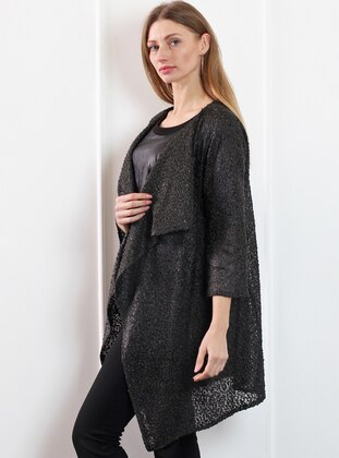 Black - Shawl Collar - Wool Blend - Cardigan