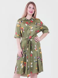 Khaki - Floral - Point Collar - Fully Lined - Dress