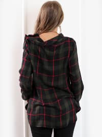 Khaki - Plaid - Boat neck - Blouses