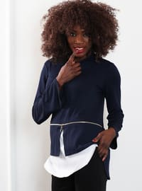 Navy Blue - Crew neck - Blouses