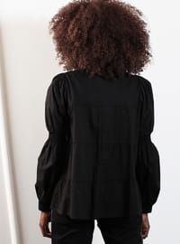 Black - Point Collar - Blouses