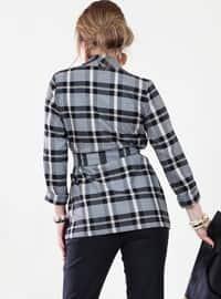 Black - Checkered - Point Collar - Plus Size Blouse
