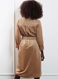 Beige - Crew neck - Fully Lined - Viscose - Dress