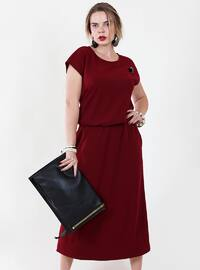 Maroon - Crew neck - Fully Lined - Viscose - Dress