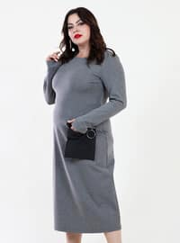 Gray - Crew neck - Fully Lined - Viscose - Dress