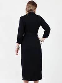 Black - Crew neck - Fully Lined - Viscose - Dress