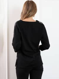 Gray - Black - Checkered - V neck Collar - Blouses