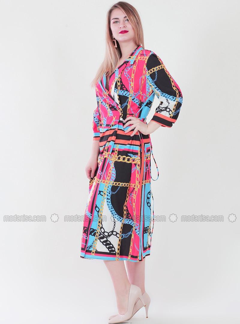 Red - Black - Multi - V neck Collar - Dress