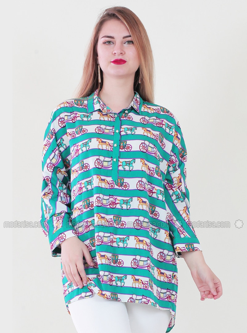 White - Green - Multi - Point Collar - Tunic