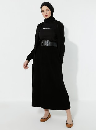 Black -  - Skirt - İLMEK TRİKO