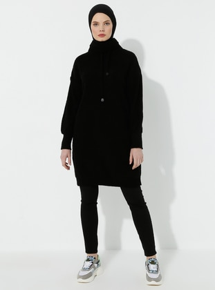 Black - Polo neck -  - Tunic