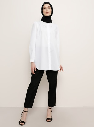 White - Point Collar - Blouses - Refka
