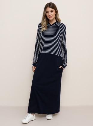 White - Navy Blue - Stripe - Plus Size Dress