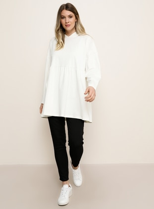 White - Ecru -  - Plus Size Tunic