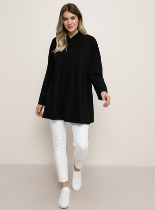 Black -  - Plus Size Tunic - Alia