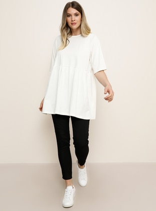 White - Ecru - Crew neck -  - Plus Size Tunic - Alia