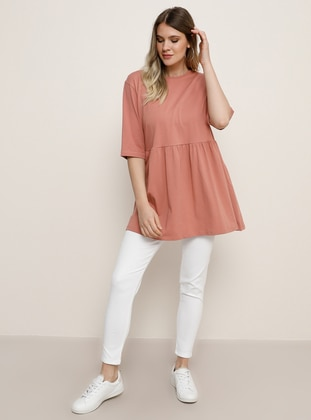 Salmon - Crew neck -  - Plus Size Tunic - Alia