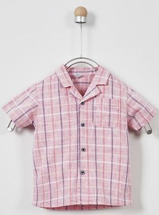 Checkered - Point Collar - Linen -  - Red - Boys` Shirt