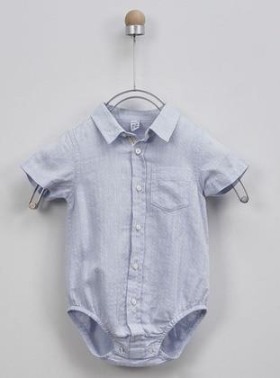 Point Collar - Linen - - Blue - Boys` Shirt