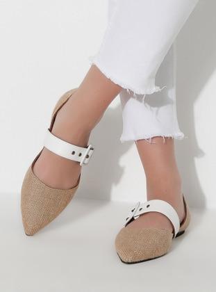 White - Camel - Flat - Flat Shoes