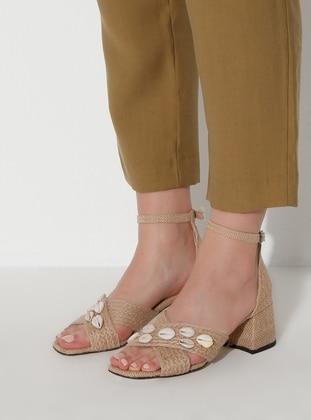 Straw - Camel - Sandal - High Heel - Heels