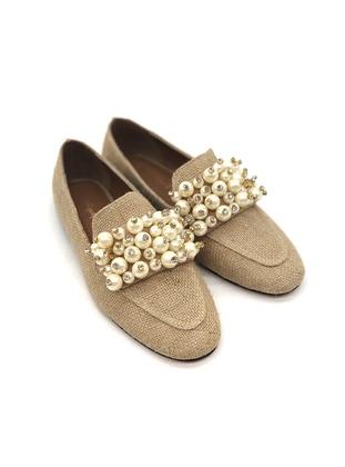 Camel - Flat - Straw - Flat Shoes