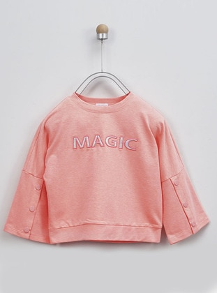 Crew neck -  - Salmon - Girls` Sweatshirt