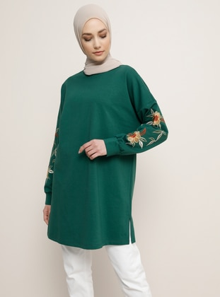 Green - Emerald - Crew neck - Tunic