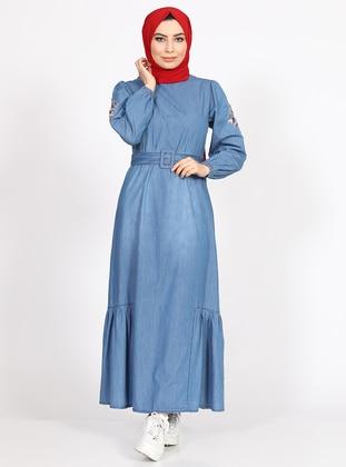 Blue - Crew neck - Denim -  - Dress