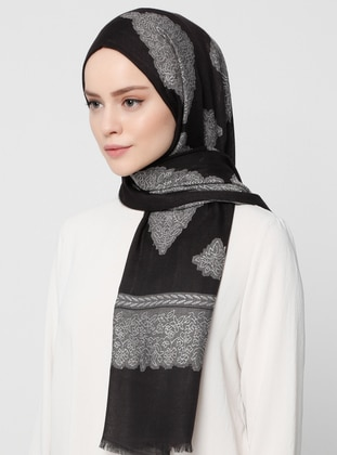 Black - Plain - Jacquard - Shawl
