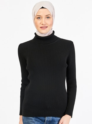 Black - Polo neck - Acrylic - Jumper