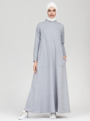 Gray - Crew neck - Dress