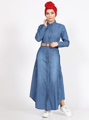 Blue - Point Collar - Denim -  - Dress