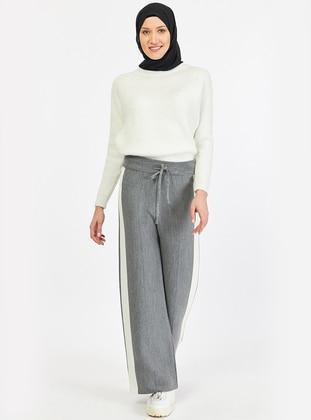 Gray - Acrylic - Pants - İLMEK TRİKO