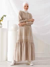 Beige - Stripe - Crew neck - Unlined - - Dress
