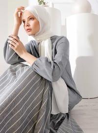 İndigo - Çizgili - Yuvarlak yakalı - Astarsız - - Elbise