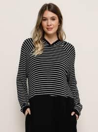 Beyaz - Siyah - Çizgili - Astarsız kumaş - Büyük Beden Elbise
