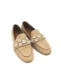 Camel - Flat -  Straw - Flat Shoes