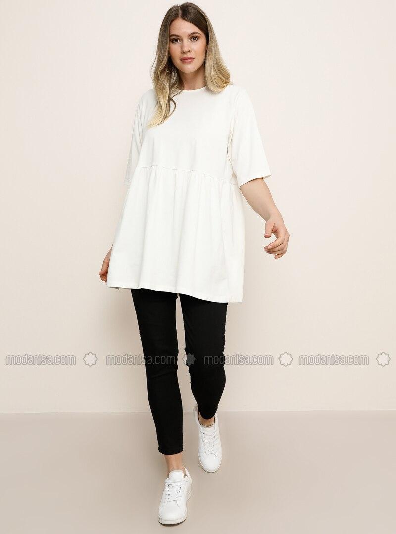 White - Ecru - Crew neck -  - Plus Size Tunic