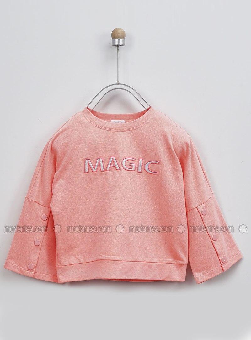 Crew neck - - Salmon - Girls` Sweatshirt